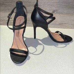 Chinese Laundry Leather Black Strappy Heels